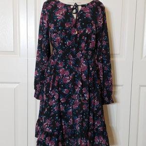 Torrid Floral Ruffle Bottom Dress with Tassel Tie